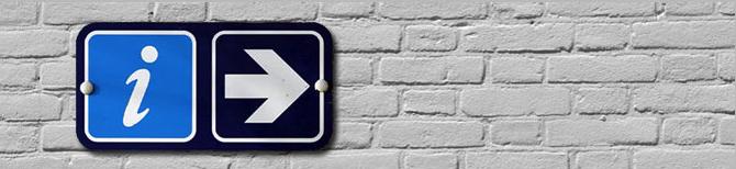 Cartel de I de Información y flecha